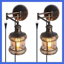 Swing Arm Wall Lamp 2 In 1 360 Angle Adjustable Industrial R