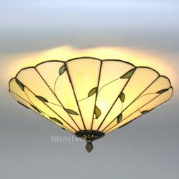 Tiffany Style Leaf Flower Vintage Light Stained Glass Ceilin