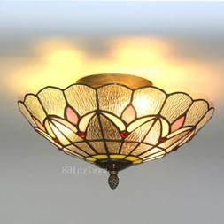 Tiffany Style Vintage Light Stained Glass Flush Mount Ceilin