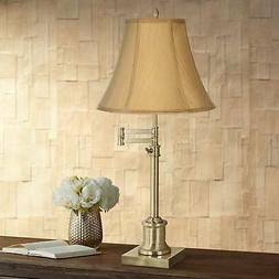 Traditional Swing Arm Desk Table Lamp Brass Coppery Gold Sha