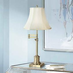 Traditional Swing Arm Desk Table Lamp Brass Imperial Creme S