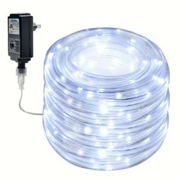 Waterproof  75.5FT 200 LED Cool White Rope String Fairy Ligh